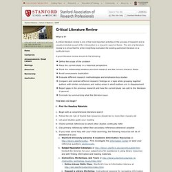 Stanford Literature Review
