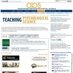Teaching Psychology - Association for Psychological Science