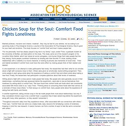 Chicken Soup for the Soul: Comfort Food Fights Loneliness