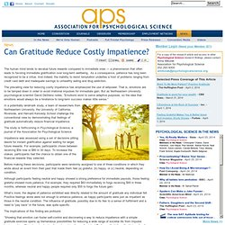 Can Gratitude Reduce Costly Impatience?