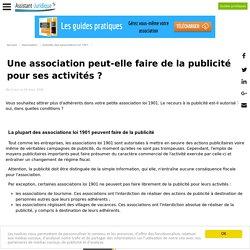 Une association peut-elle faire de la publicité pour ses activités