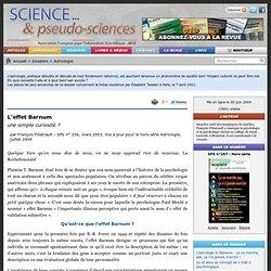 L'effet Barnum - une simple curiosité ? - Afis - Association française pour l'information scientifique