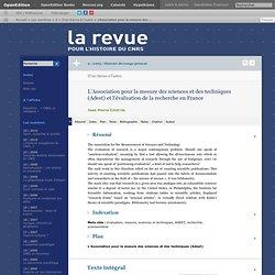L'Association pour la mesure des sciences et des techniques (Adest) et l'évaluation de la recherche en France