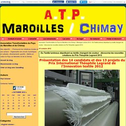 Du Textile lumineux dépolluant au textile changant de couleur : découvrez les nouvelles créations du Prix Théophile Legrand 2012 - Association Transfrontalière du Pays du Maroilles et de Chimay