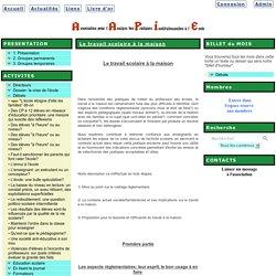 le site de l'Association AAPIE - Le travail scolaire à la maison