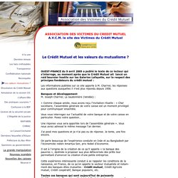 ASSOCIATION DES VICTIMES DU CREDIT MUTUEL