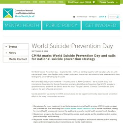World Suicide Prevention Day - Canadian Mental Health Association