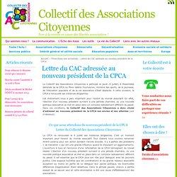 Lettre du CAC adressée au nouveau président de la CPCA