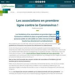 Les associations en première ligne contre le Coronavirus !