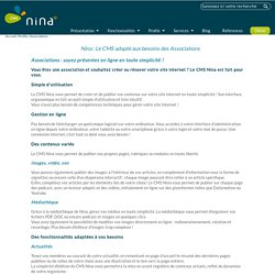 Le CMS adapté aux besoins des Associations et petites entreprises - Nina - Système de gestion de contenu / CMS