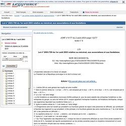 Loi n° 2003-709 du 1er août 2003 relative au mécénat, aux associations et aux fondations