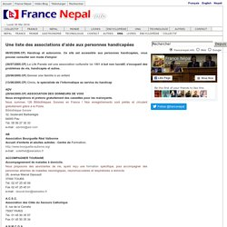 Une liste des associations d'aide aux personnes handicapées France Nepal - Nepal France info