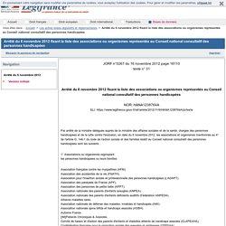 Arrêté du 6 novembre 2012 fixant la liste des associations ou organismes représentés au Conseil national consultatif des personnes handicapées