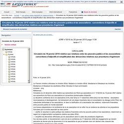 Circulaire du 18 janvier 2010 relative aux relations entre les pouvoirs publics et les associations : conventions d'objectifs et simplification des démarches relatives aux procédures d'agrément