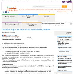 Quelques règles de base sur les associations, loi 1901 - Document sitEColes