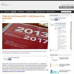 Projet de loi de finances 2013 : stabilité pour la vie associative
