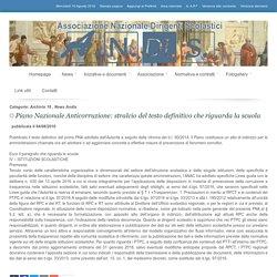 A.N.DI.S. Associazione Nazionale Dirigenti Scolastici - Piano Nazionale Anticorruzione: stralcio del testo definitivo che riguarda la scuola