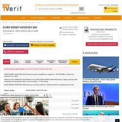 Société EURO DISNEY ASSOCIES SAS à Chessy (Chiffre d'affaires, bilans, résultat) avec Verif.com - Siren 397471822
