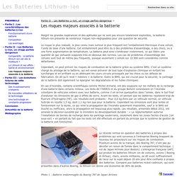 Les risques majeurs associés à la batterie - Les Batteries Lithium-ion