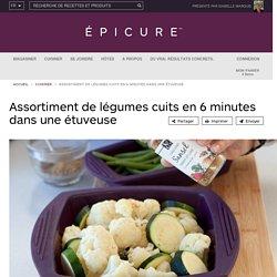 Assortiment de légumes cuits en 6 minutes dans une étuveuse