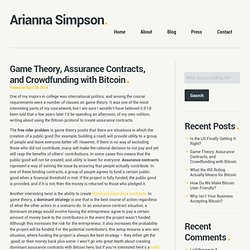 Game Theory, Assurance Contract and Crowdfunding via Bitcoin