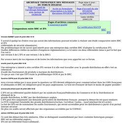 L'assurance qualité - Comparaison entre BRC et IFS - Archive forum HYGIENE