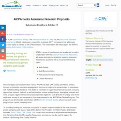 AICPA Seeks Assurance Research Proposals
