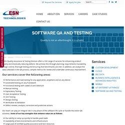 Software Quality Assurance and Testing – ESN Technologies