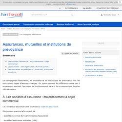 Assurances, mutuelles et institutions de prévoyance