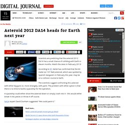 Asteroid 2012 DA14 heads for Earth next year