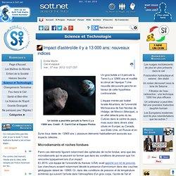 Impact d'astéroïde il y a 13 000 ans: nouveaux indices