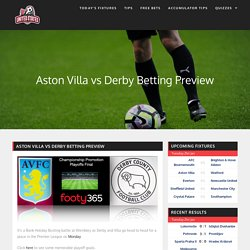 Aston Villa vs Derby Betting Preview: Get Tips here!