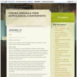 YORUBA ORISHAS: ASTROLOGICAL COUNTERPARTS