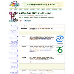 Astrology Dictionary B and C