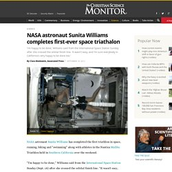 NASA astronaut Sunita Williams completes first-ever space triathalon