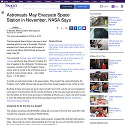 Astronauts May Evacuate Space Station in November, NASA Says