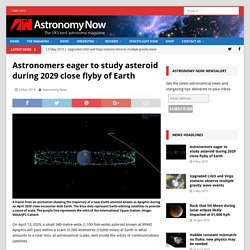 *****Astronomers eager to study asteroid during 2029 close flyby of Earth (Apophis)