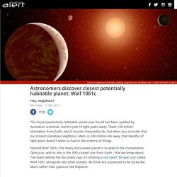Astronomers discover closest potentially habitable planet: Wolf 1061c