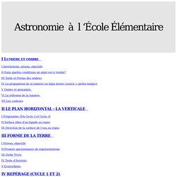 Astronomie à l 'École Élémentaire