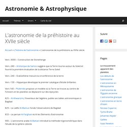 L'astronomie de la préhistoire au XVIIe siècle