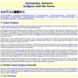 Astronomy Answers: Eclipses and the Saros