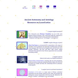 Caelum Antiquum • Astronomy and Astrology in Antiquity