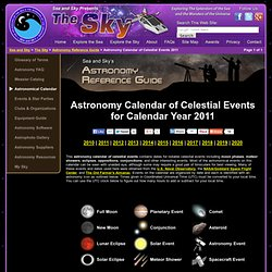 Astronomy Calendar of Celestial Events 2011 - Sea and Sky