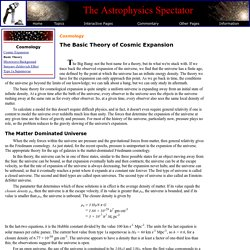 The Astrophysics Spectator: The Basic Theory of Cosmic Expansion