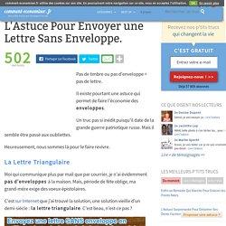L'Astuce Pour Envoyer une Lettre Sans Enveloppe.