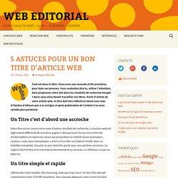 5 ASTUCES POUR UN BON TITRE WEB