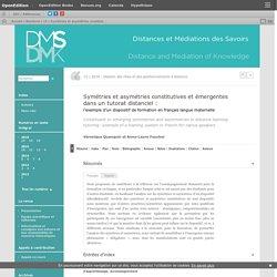 Symétries et asymétries constitutives et émergentes dans un tutorat distanciel :