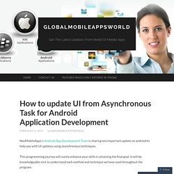 How to update UI from Asynchronous Task for Android Application Development