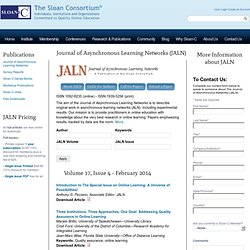 The Journal of Asynchronous Learning Networks (JALN) | The Sloan Consortium®