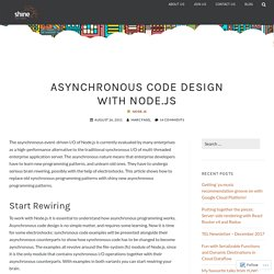 Asynchronous Code Design with Node.js – Shine Solutions Group